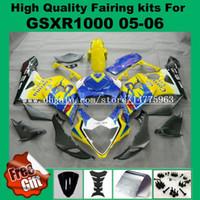 ingrosso vernice gialla k5-Kit carena al 100% per SUZUKI GSXR1000 2005 2006 GSX-R1000 05 06 Kit carene GSXR 1000 2005 2006 K5 K6 Kit carena iniezione giallo blu