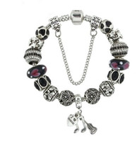Wholesale Black Crystal Beads Fit Bracelet - Wholesale 925 Sterling Silver Gorgeous Black Murano Glass Beads European Charms Beads Crystal Fit Pandora Silver Charm Bead Bracelet Jewelry
