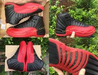 Wholesale Volleyball Games - Top Quality Retro 12 Flu Game Basketball Shoes Men Women 12s Flu Game Black And Red Sports Sneakers With Shoes Box Size 7-13 Eur 40-47