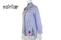 Wholesale Embroidered Sleeveless Shirt Woman - omen's Clothing Blouses Shirts Moirlicer Chic floral embroidered women blouses Winter long sleeve striped shirt women tops 2016 Casual bi...