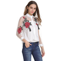 Wholesale See Through Long Blouse - Women Fashion Casual Career Sexy Summer Button Down Sheer Transparent Chiffon Floral See-Through T-Shirt Blouse Tops Shirt White S-3XL