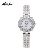 Women's adorn fashion - Miss Fox Hot Sales Orignal Design Luxury Tribute To Classic Retro Lady Watches Arrival Fashion Pearls Adorned With Diamonds Wristwatches