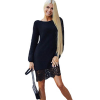 Wholesale Sweater Pack - Wholesale- 2017 Spring Autumn Women Warm Knit Lace Office Dress Casual Party Sweater Dresses Pack Hip Sheath Bodycon Dress Vestidos Robe