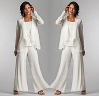 vestido de marfim marfim venda por atacado-2019 Marfim Branco Chiffon Rendas Senhora Mãe Calças Ternos Mãe do Noivo Da Noiva Com Jaqueta Elegante Mulheres Vestidos de Festa Calças