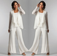 Wholesale ladies elegant jackets - 2017 Ivory White Chiffon Lace Lady Mother Pants Suits Mother of The Bride Groom With Jacket Elegant Women Party Dresses Trouser