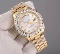 Wholesale Women Mechanical Watch Sale - Hot Luxury Sale AAA Wristwatch Brand President Day Date 18K Gold Mens Watch Big Diamond Bezel Black Dial Diamonds Mens Women Reloj Watches