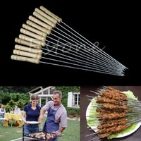 Venta al por mayor- 1 Set nuevo caliente barbacoa barbacoa broche Kabob Kebab Stick plano plana Needle-F1FB