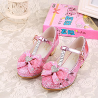 Wholesale Toddler Red Ballet Shoes - Children Princess Sandals Girls Shoe rhinestone party heeled shoe for baby girl pu leather shoe toddler fashion dance bow ballet