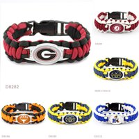 Wholesale Alabama Charms - Paracord Survival Outdoor Camping Bracelets Ravens Michigan Wolverines Texas Longhorns Georgia Bulldogs Alabama Crimson Tide Custom