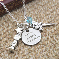 Wholesale Happy Easter Gift - 12pcs lot Peter Pan Inspired Peter Pan Think Happy Thoughts crystals for women or girls Necklace