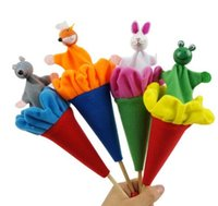 Wholesale Popping Rod - Animals Pop Up Puppets Telescopic Stick Rods Doll Kids Children Storytelling Toys - Fox Crow Bee Frog White Rabbit Gray Wolf