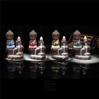 Wholesale incense holders wholesale - Handmade Ceramic Lotus Backflow Buddhist Incense Ceramic Backflow Incense Burner Holder Censer Aromatherapy Smoke Backflow Stick Incense