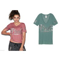 Wholesale 2017 Fashion Women Summer VS Round Neck Short Sleeve Cotton Tee Tops Pink Letters Printed T Shirt