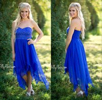 Wholesale Hi Low Style Bridesmaid Dresses - 2018 Country Style Short Bridesmaid Dresses Royal Blue High Low Cheap Sweetheart Ruched Backless Summer Boho Maid Honor of Gown