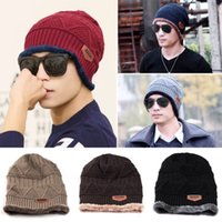 Wholesale Wholesale Beanies Men - Unisex Winter Warm Hip Hop Skullies Beanie Men Women Knitted Hat Causal Outdoor Warm Cap 200 PCS YYA273