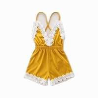 Wholesale Baby Romper Beach - 2017 Summer New Baby Girl Romper Infant V neck Lace Edge Princess Backless Beach Overalls Toddler Clothing 0-2Y 16528