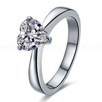 diamantes em forma de coração venda por atacado-Incrível 2CT Coração Forma Anel de Diamante Sintético Genuine Anel de Prata Esterlina Sólida Acabamento em Ouro Branco