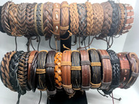Wholesale Vintage Style Womens - Wholesale 50pcs Lots Mix Style Mens Womens Fashion Vintage Leather Bracelet Cuff Wristband Jewelry Gift Bracelet