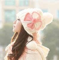 Wholesale Woolly Hats Cap Wholesalers - Brand Winter Skullies Women Crochet Woolly Flower Earflap Beanie Hat Winter Caps Pink knitted women Hat with Bow Free Ship
