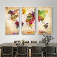 Wholesale World Oil Canvas Panel - Wholesale 3 Pieces Canvas Wall Art Abstract Painting Watercolor World Map Canvas Wall Picture For Living Room Canvas Print Unframed
