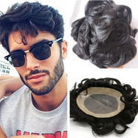 Wholesale Human Hair Toupee Men - 2017 Men Hair Toupees 6inch 1B Loose Wave Virgin Brazilian Human Hair Lace PU Men Toupee Free Shipping