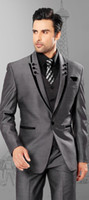 Wholesale Mens Grey Pinstripe Suit - Mens Suits Slim Fit Peaked Lapel Grey Wedding Tuxedos For Groom 2018 Groomsmen Suits One Button Three Piece Men Suit (Jacket+Pants+Vest)