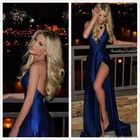 sexy vestido de noche de satén ajustado al por mayor-2017 Nueva Sexy Satén Azul Oscuro Equipado Vestidos de Noche Largos de Alta Split acanalada Piso Longitud Formal Party Prom Vestidos