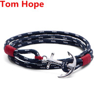 Wholesale Rope Ring Gold - Tom Hope Anchor Bracelet France Brand Stainless Steel Charms Bracelets Punk Style Fashion Braided Leather Rope Chains Jewelry