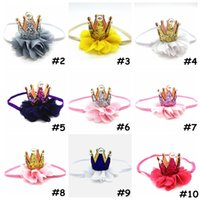 Baby Crown Hairband Girl's Chiffon Sequin Hair Band avec perle Headwear Enfants princesse Party Tiaras head wraps