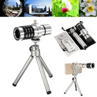 Wholesale Mobile Phones Telescope Camera 12x - Universal 12X Zoom Mobile Phone Camera Lens Telescope Telephoto With Clip Holder Tripod Lens For iPhone For Samsung SmartphonesUniversal 12X