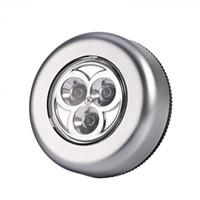 bateria levou luz de torneira venda por atacado-3 LED Touch Light 3 AAA Bateria Bateria Stick Touch Touch Light Lâmpada Silver LED Touch light lamp