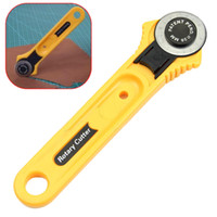 Wholesale Rotary Leather Cutter - 28mm Rotary Cutter Leather Craft Circular Cut Yellow Blade Patchwork Fabric Sewing Tools