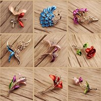 Wholesale Brooches Anchor - 10pcs lot Mix Style Fashion Crystal Jewelry Brooches Pins For Jewelry Craft Gift BR06* Free Shipping