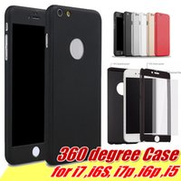 Wholesale I Phone Hard Cover - 360 Degree Ultra-thin Hybrid Full Body Protection Hard PC Full Cover Case With Tempered Glass Screen Protector For i Phone 7 Plus 6 6S 5S 5