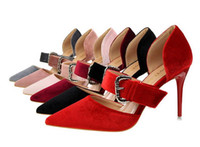 Wholesale Careers Wine - Sexy Women Party Wedding Shoes Buckle Pointed Toe High Heels D'Orsay Pump Wine Red Pink Size 34 to 39