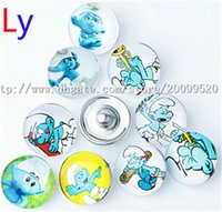 Wholesale European Charm Bracelet Kids - 18MM Snap Buttons Metal Glass Noosa Chunks 50 lot Mix Fit Women Kids Diy Jewelry Charm Button Bracelet Lovely Smurfs NR0210