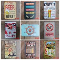 Wholesale Santa Signs - Santa Claus Caipirinha Compas Cold Beer No smoking Vintage Craft Tin Sign Retro Metal Painting Poster Bar Pub Signs Wall Art Sticker