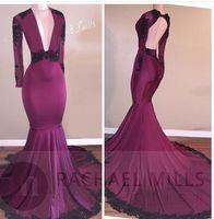 Wholesale glamorous deep v neck dress - 2017 Glamorous Deep V-Neck Long Sleeves Mermaid Prom Dress Black Lace Backless Long Formal Evening Gonws
