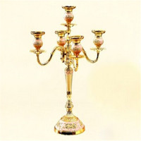 Wholesale Candelabra Style Wedding - Candelabra Wedding Table Decor Gold Vintage European Style Candlestick Luxury Alloy Crafts Home Metal Furnishings Silver Carved Candlestick