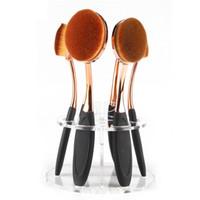 estantes cosméticos al por mayor-Al por mayor- Estante cosmético del estante Cepillo de dientes Organizador del cepillo de maquillaje de acrílico 6 Agujero Oval Maquillaje portaescobillas para el soporte del cepillo de secado S2