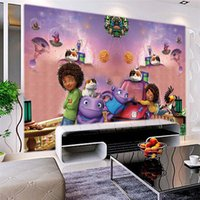Wholesale Alien Wall - Custom Photo 3D Wall Murals Cartoon Animation Crazy Alien Children's Room Bedroom Straw Texture Wallpaper Wall Painting Decor 3D