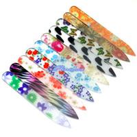bloques de acrilico negro al por mayor-Gran venta !!! 6 Unids / set Estilo de color aleatorio MINI Crystal Glass Nail File Archivos coloridos Herramienta de manicura