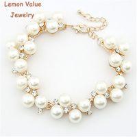 Wholesale Pearls Value - Wholesale- Lemon Value New Fashion Bijoux Luxury Charms Imitation Pearl Rhinestone Crystal Beads Bracelet Women Jewelry Femme Pulseras D032