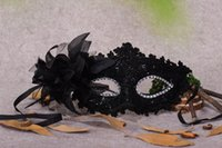 Wholesale Festival Feather Mask - Venetian Half face Flower Feather Party Mask Masquerade Party on stick Mask Halloween Christmas Dance Party Festival Mask Supplies CPA917