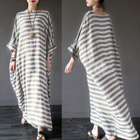 Wholesale Plus Size Batwing - ilstile Vintage Women Batwing Sleeve Baggy Stripe Loose Cew Neck Kaftan Pockets Long Maxi Dress Kleid Robe Oversize S-5XL