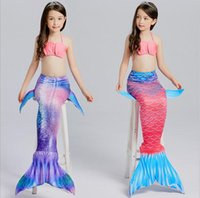 ingrosso le neonate nuotano i vestiti-2017 fishion Cute Baby Girl Mermaid Costume da bagno 3 pezzi FishTail Cosplay Six Style Bambini Baby Mermaid Girls Bikini Set Summer Swimwear