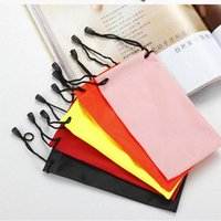 Wholesale Drawstring Glasses Bags - 4000pcs High Quality Candy Color Plastic Sunglasses Pouch Soft Eyeglasses Bag Glasses Phone bags Drawstring Sunglasses Cases