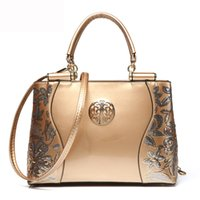 Wholesale Design Totes Leather - Europe fashion sequined chains shoulder bag Luxury Embroidery patent leather famous brands design versatile tote sac a main women handbags