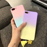 Wholesale Case Changes Light Color - 2017 Lovely Cartoon Simple Color Gradual Change Case Tassel Pendant Cover For iphone 6 Case Hard PC Phone For iphone 6S 7 7PLUS