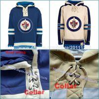 Wholesale Hoodie Youth - Customized Men's youth women Old Time Hockey Hoodies Jerseys Winnipeg Jets Blank Custom Jersey Hoodie Winter Sweatshirts Blue Cream Shirts